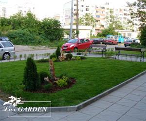 Изградена тревна площ в озеленяване на предблоково пространство